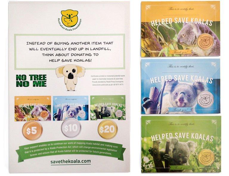 Save the koala gift certificates